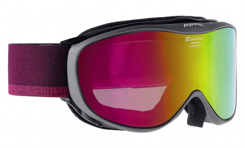Alpina Challenge 2.0 MM Brillenträger Skibrille (Farbe: 835 anthracite, Scheibe: MULTIMIRROR pink)