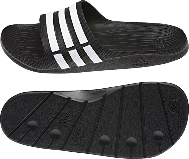 adidas Duramo Slide Badesandale (Größe: 15.0 = 51.0, black/white/black) Sale Angebote Kathlow