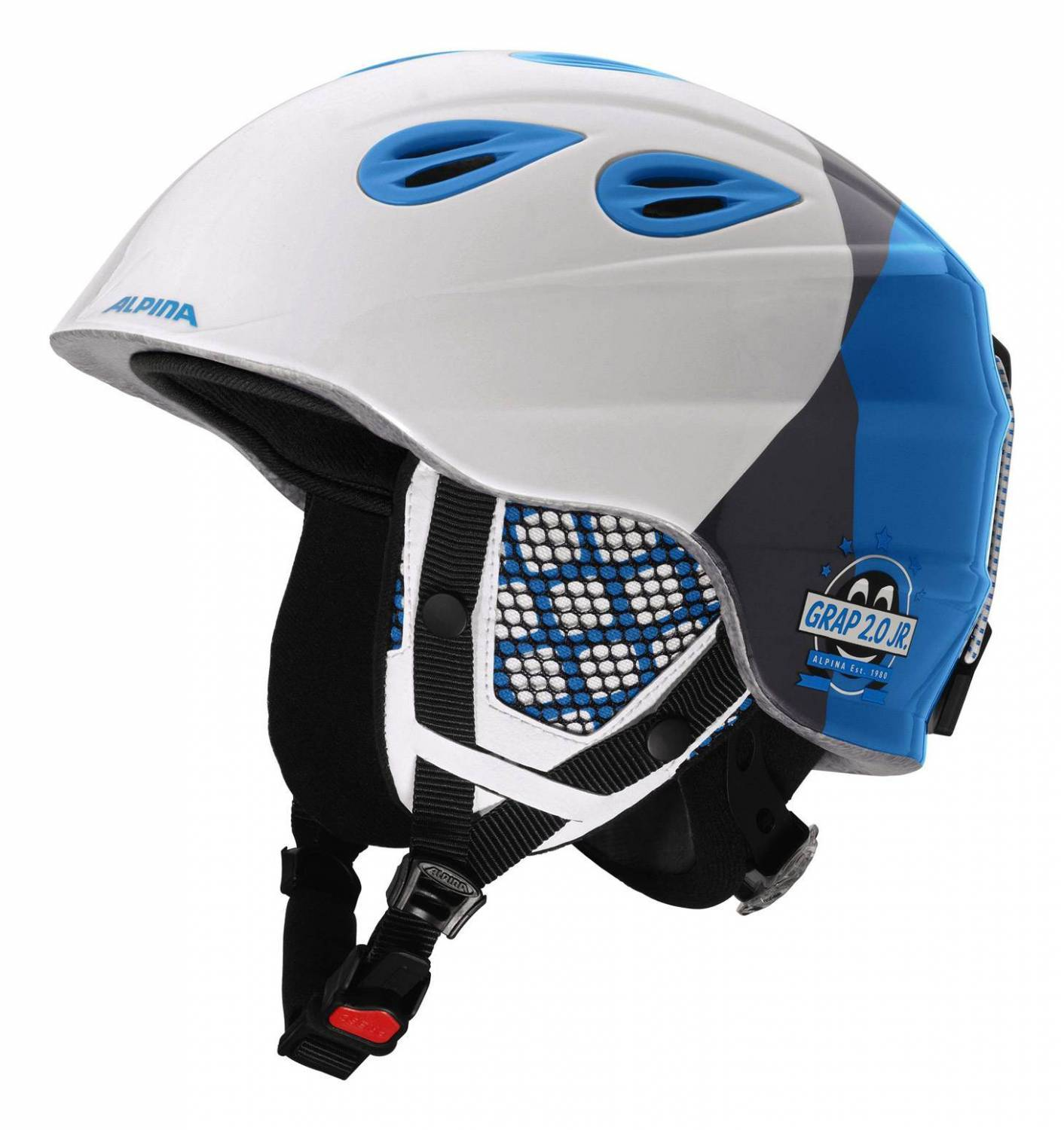 Alpina Grap 2.0 Junior Kinderskihelm (Größe 51 54 cm, 12 white silver blue)