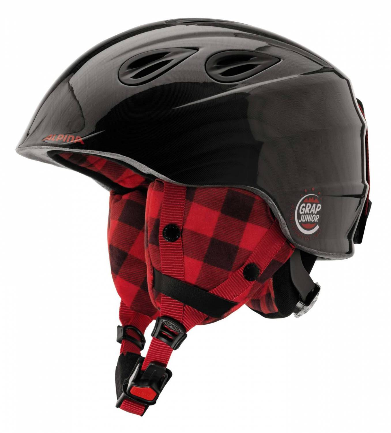 Alpina Grap 2.0 Junior Kinderskihelm (Größe 51 54 cm, 33 black lumberjack)