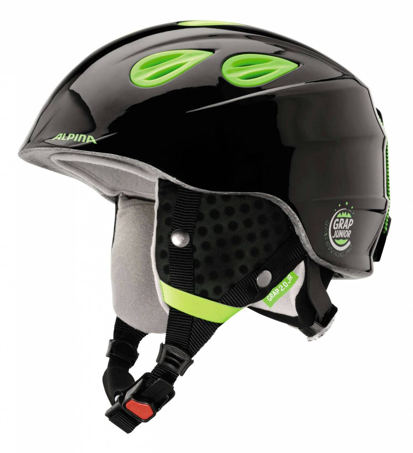 Alpina Grap 2.0 Junior Kinderskihelm (Größe 51 54 cm, 35 black neon yellow)