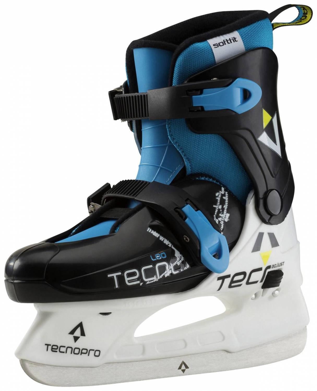 TecnoPro Leo Jr. verstellbarer Kinderschlittschuh (Größe 29.0 32.0, 900 weiß blau schwarz)