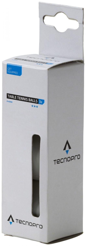 TecnoPro Tischtennisball 3 Stern (Farbe: 100 weiß)