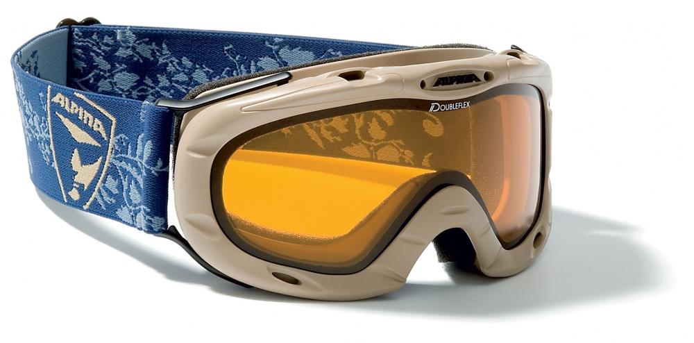 Alpina Jamp Kinder Skibrille (Farbe 193 beige, Scheibe DOUBLEFLEX)