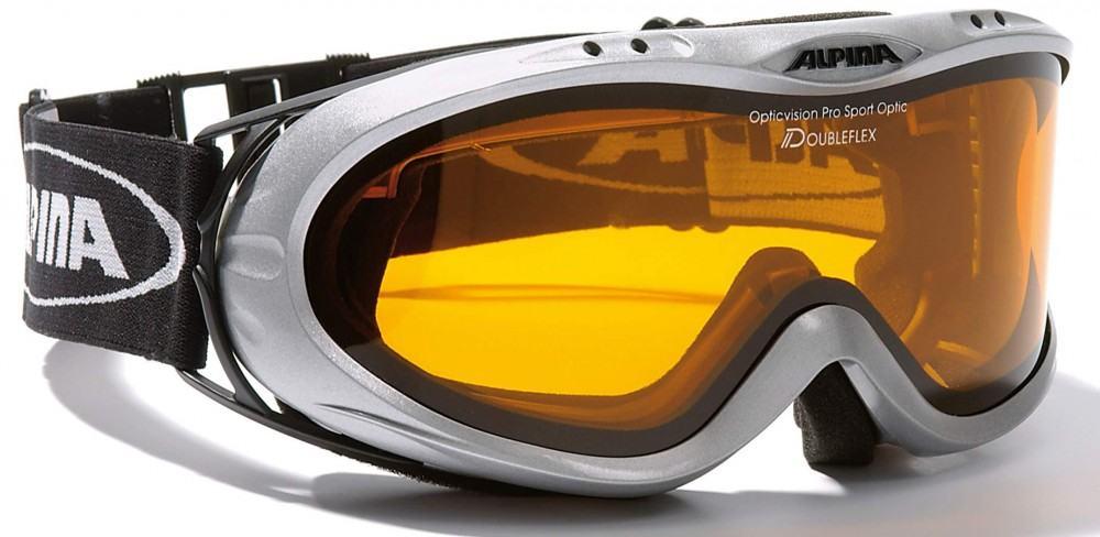 Alpina Opticvision Brillenträger Skibrille (Farbe: 121 silber, Scheibe: DOUBLEFLEX)
