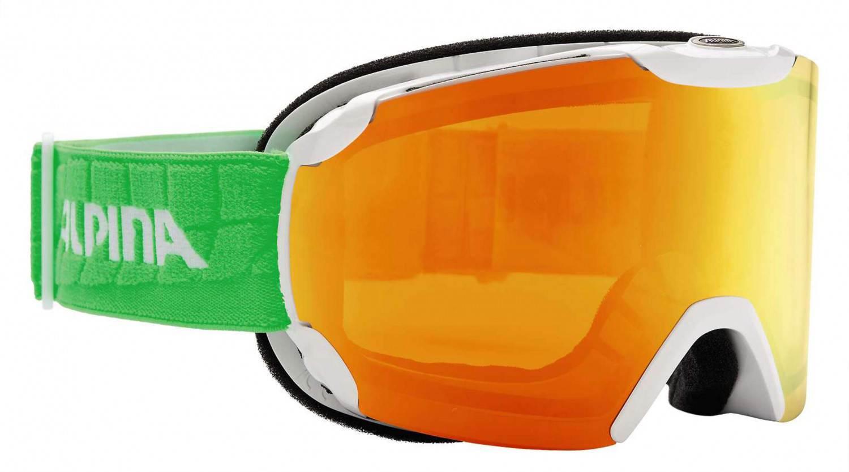 Alpina Pheos Multi Mirror Skibrille (Farbe: 811 weiß/grün, Scheibe: MULTIMIRROR oange)