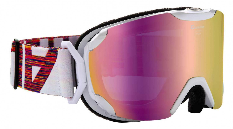 Alpina Pheos Small MM Skibrille (Farbe: 811 perlweiß, Scheibe: MULTIMIRROR pink)