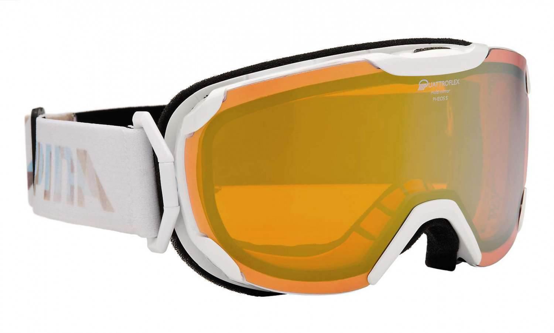Alpina Pheos Small QMM Skibrille (Farbe: 811 weiß, Scheibe: QUATTROFLEX MULTIMIRROR pink)
