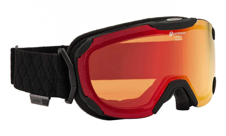 Hermsdorf Angebote Alpina Pheos Small QMM Skibrille (Farbe: 831 schwarz matt, Scheibe: QUATTROFLEX MULTIMIRROR rot)