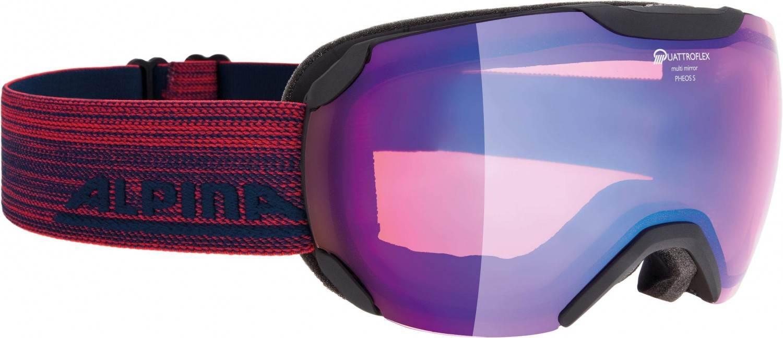 Alpina Pheos Small Quattroflex MM Skibrille (Farbe: 836 black matt, Scheibe: QUATTROFLEX MIRROR blue)
