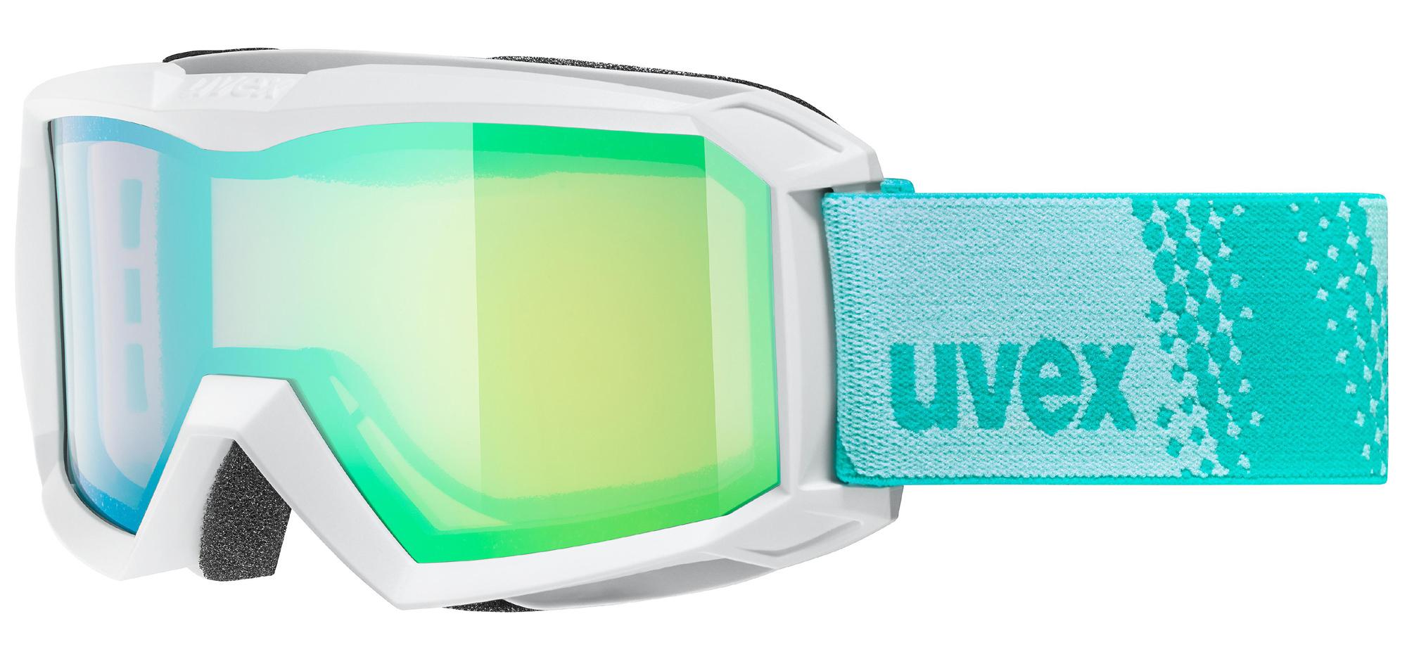 uvex Flizz FM Kinderskibrille (Farbe 1030 white, mirror green rose (S1))