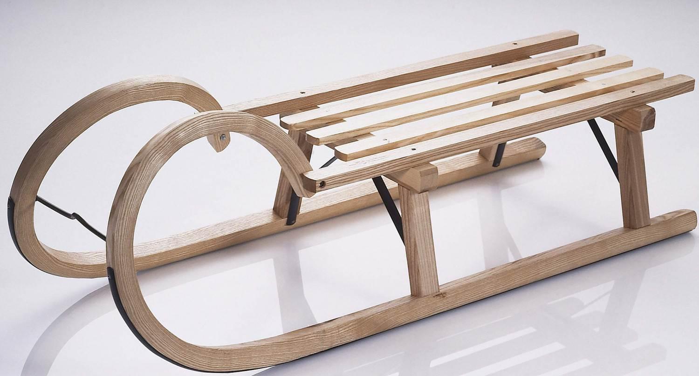 Sirch Hörnerrodel Lattensitz (Länge 115 cm, esche lackiert)