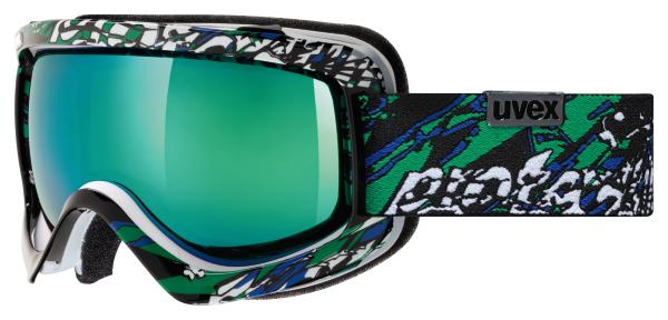 uvex Skibrille Sioux CF Colorfusion (Farbe: 1726 white/black/green, spheric double lens, l Preisvergleich