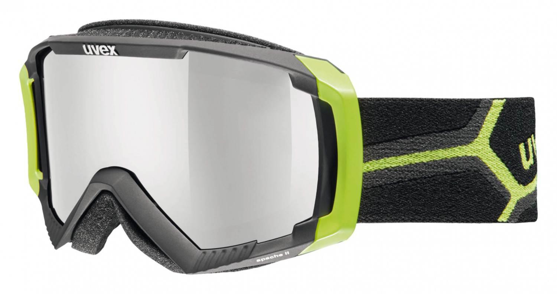 uvex Apache 2 Skibrille (Farbe: 2726 black/applegreen mat, double lens, litemirror silver/lasergold lite)