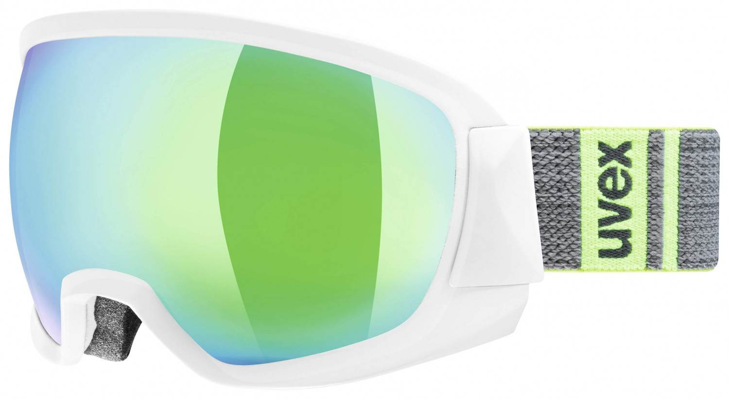 uvex Contest Full Mirror Skibrille (Farbe: 1026 white mat, mirror green/clear)