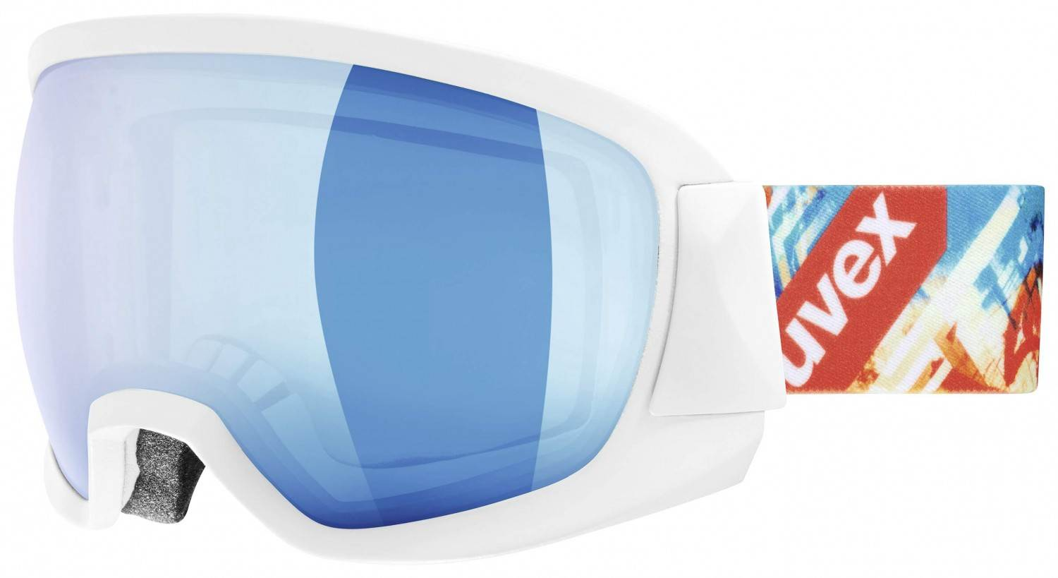 uvex Contest Full Mirror Skibrille (Farbe: 1126 white mat, mirror blue/clear) Sale Angebote Groß Gaglow