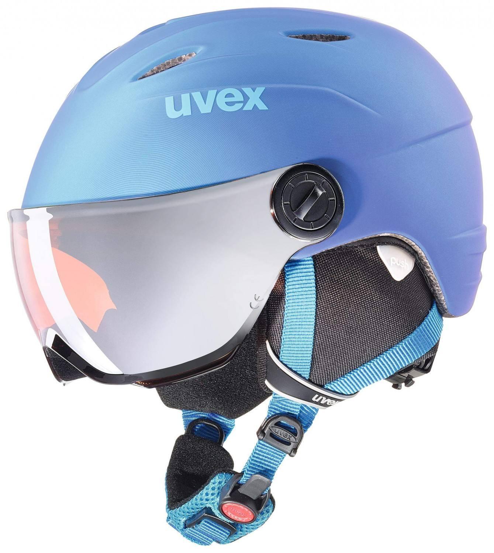 uvex Junior Visor Pro Kinderskihelm (Größe 46 52 cm, 43 blue met mat)