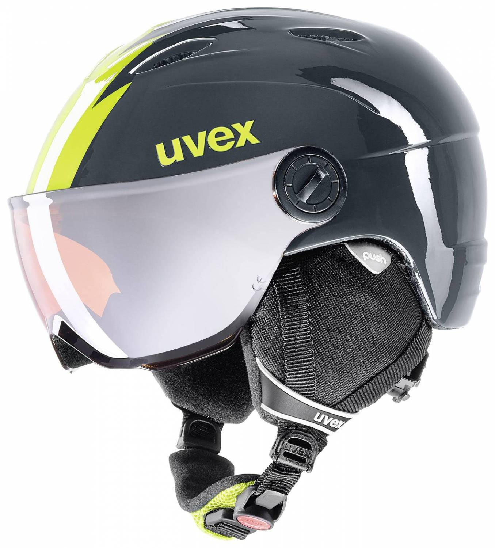 uvex Junior Visor Pro Kinderskihelm (Größe 54 56 cm, 56 titanium lime)