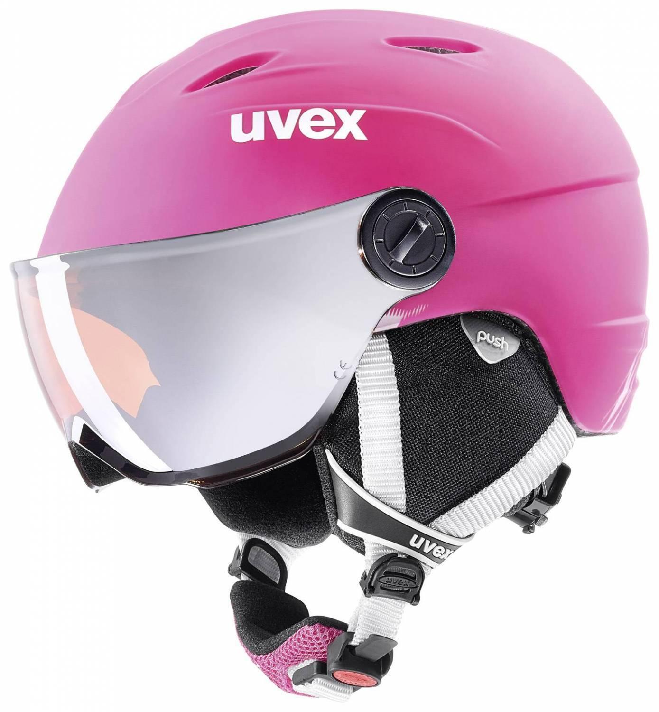 uvex Junior Visor Pro Kinderskihelm (Größe 52 54 cm, 90 pink mat)
