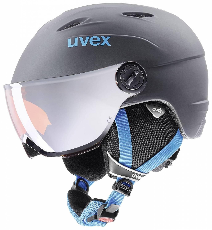 uvex Junior Visor Pro Kinderskihelm (Größe 52 54 cm, 54 titanium blue mat)