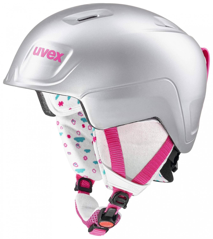 uvex Manic Pro Kinderskihelm (Größe 46 50 cm, 59 titan pink metallic mat)