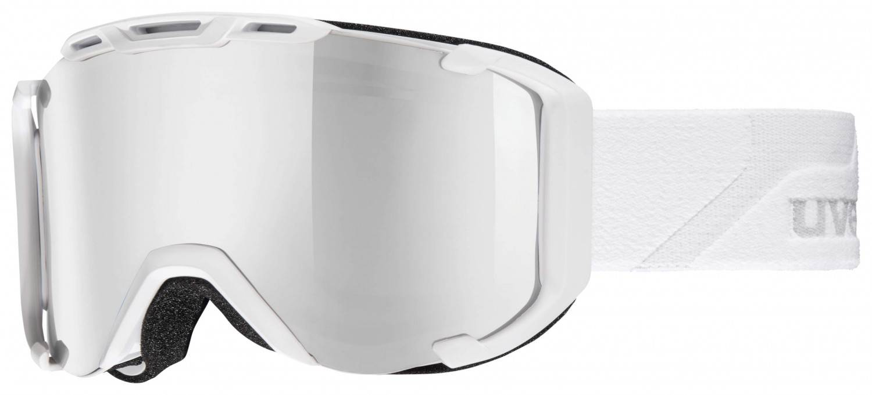 uvex Snowstrike Polavision Skibrille (Farbe: 1226 white mat, double lens, litemirror silver/polavision/clear)